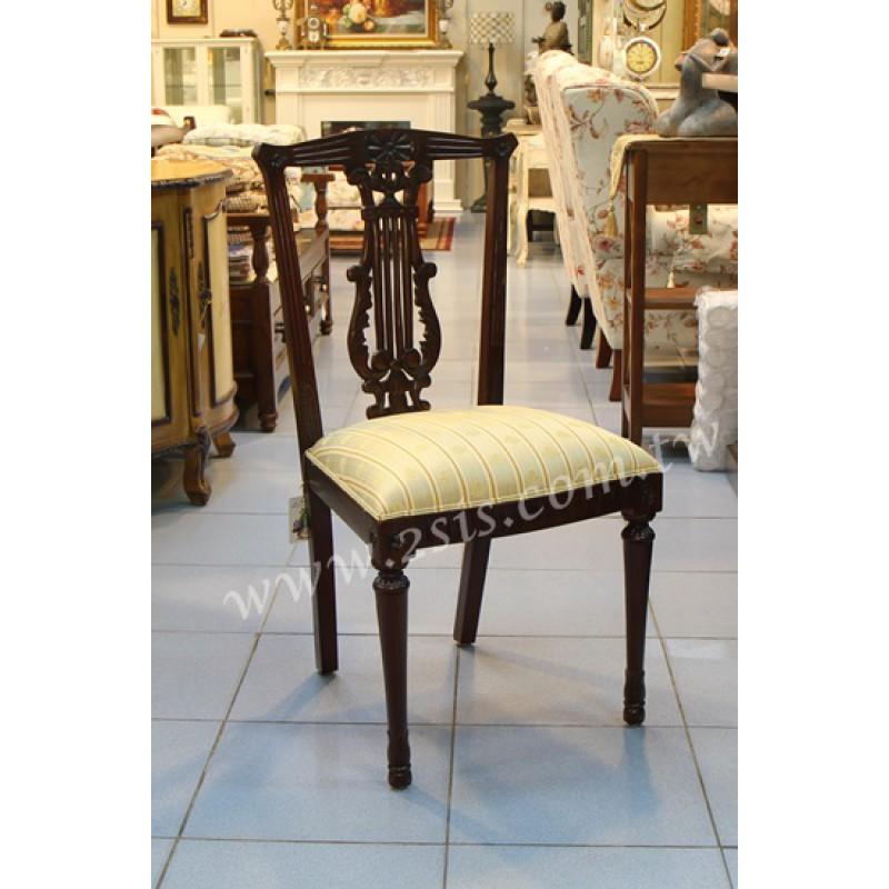 桃花心木布面直脚餐椅