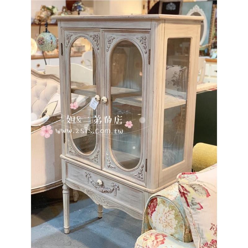 法式蕾絲雕花雙門玻璃展示櫃
