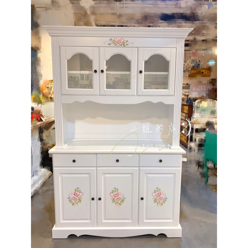 鄉村彩繪三門備餐櫃/餐邊櫃-純白