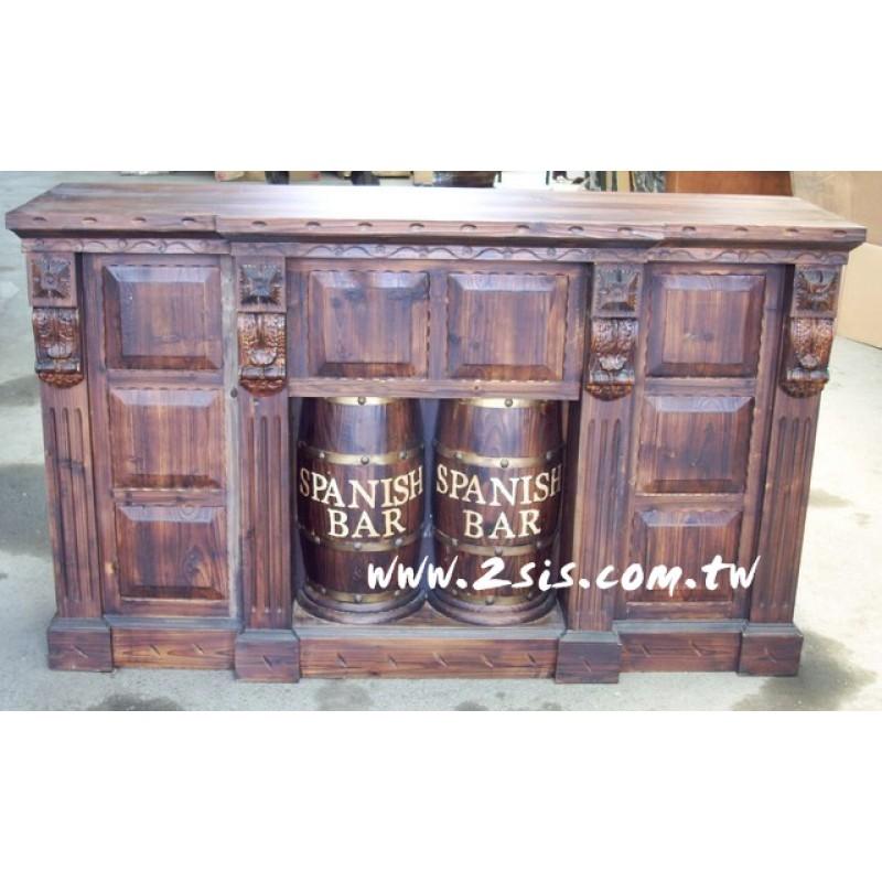 松木酒桶吧台-大