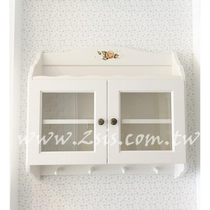 洗白彩繪玫瑰雙門壁櫃