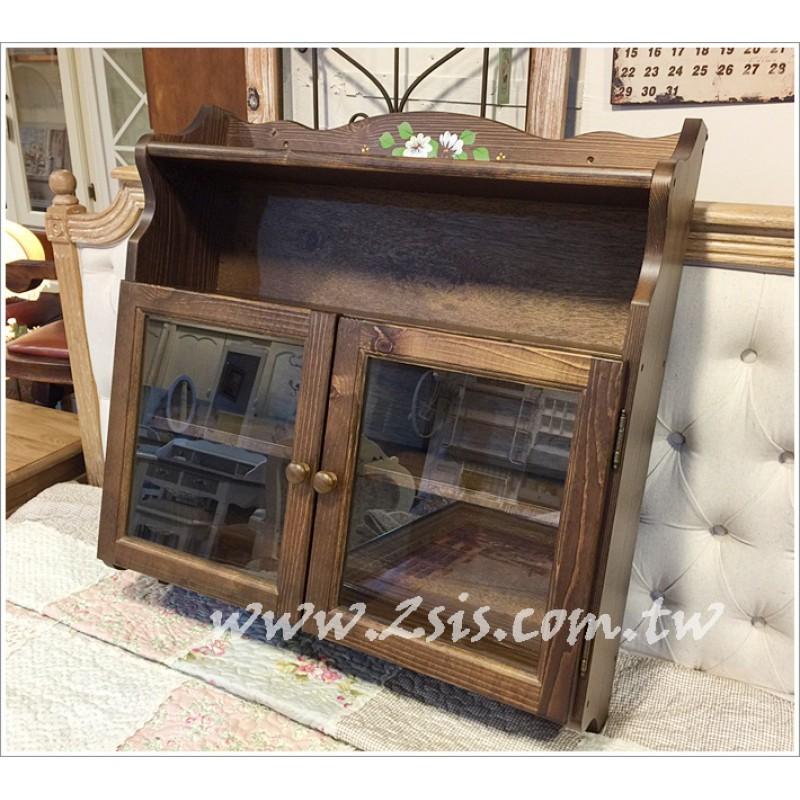 鄉村實木彩繪雙門玻璃壁櫃
