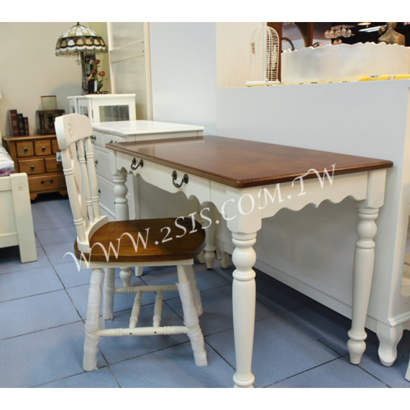 客製-雙色兩抽書桌/寫字桌