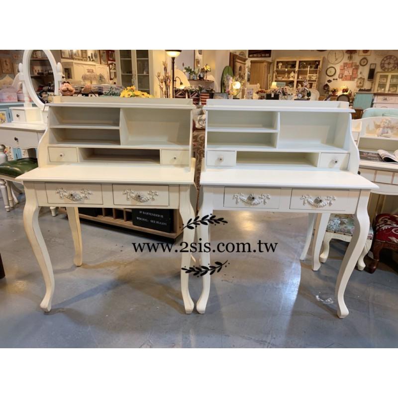 法式雕花復古書桌/化妝台-(白色)