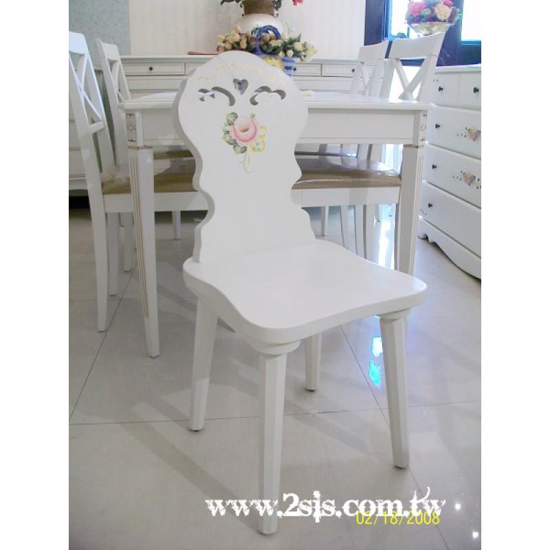 普羅旺斯洗白手繪靠背椅