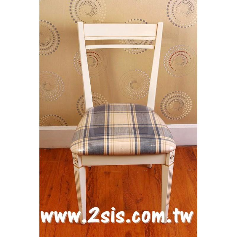 英式洗白格子布面餐椅