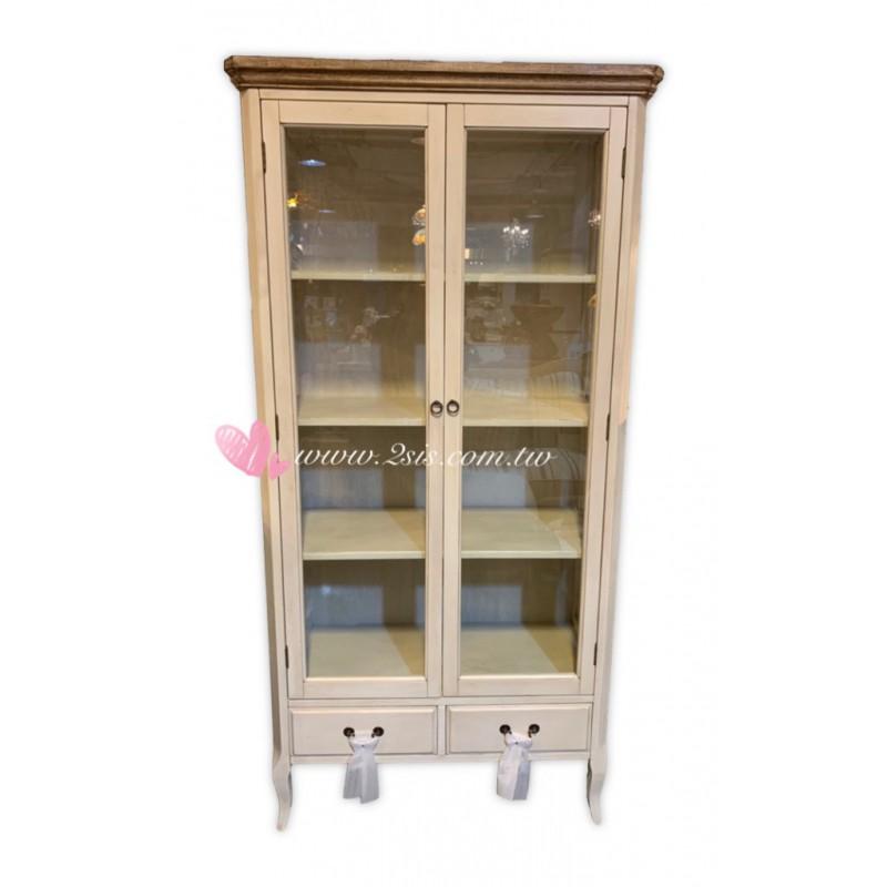 鄉村雙門玻璃展示櫃/書櫃