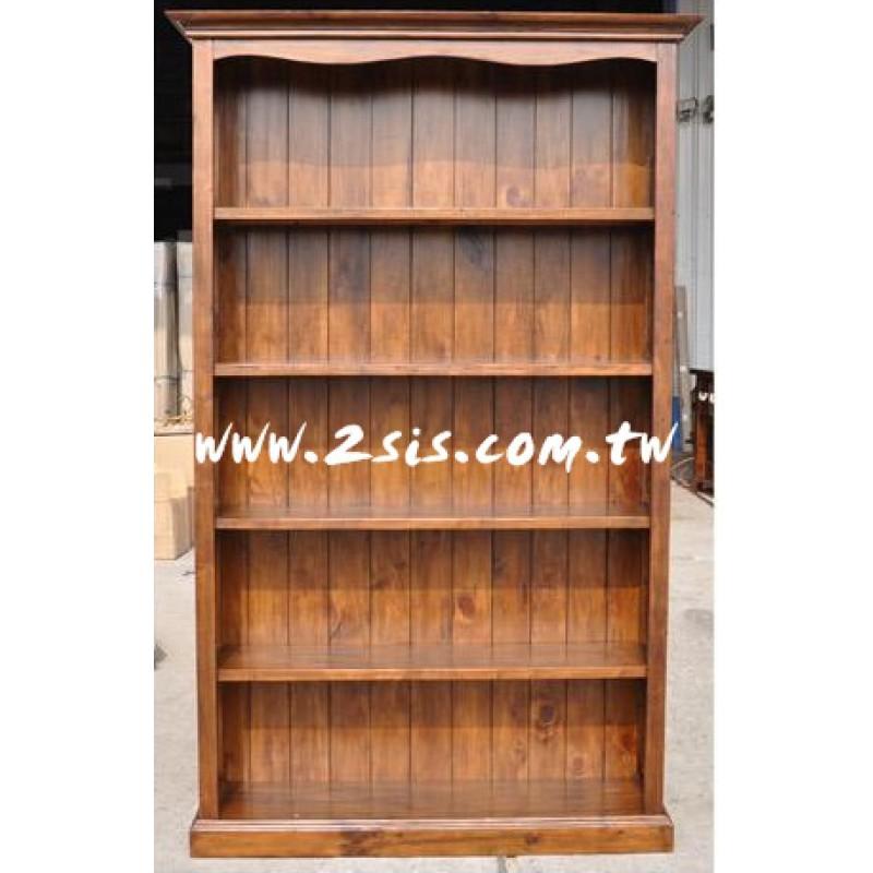原木手工開放式書櫃(131cm)