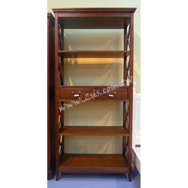 英式橡木雙抽開放大書櫃