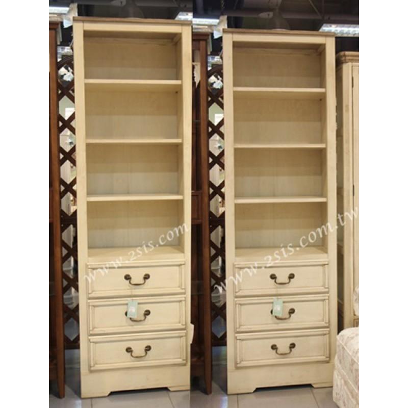 原木開放式三抽置物櫃