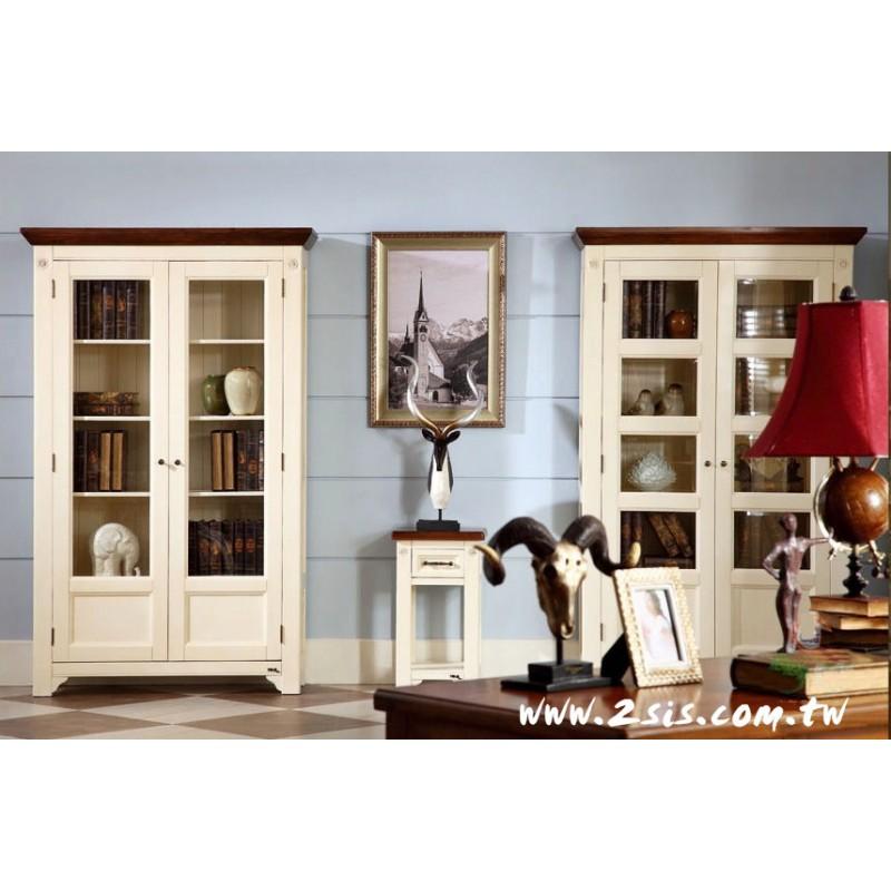 萊茵格子玻璃雙門書櫃