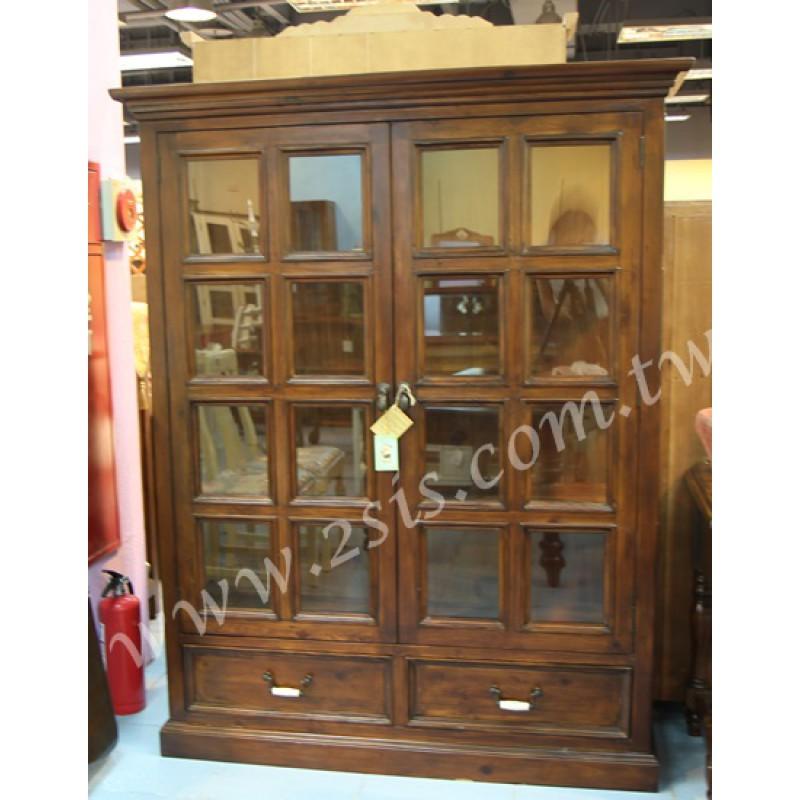 原木手工雙門玻璃展示櫃/書櫃