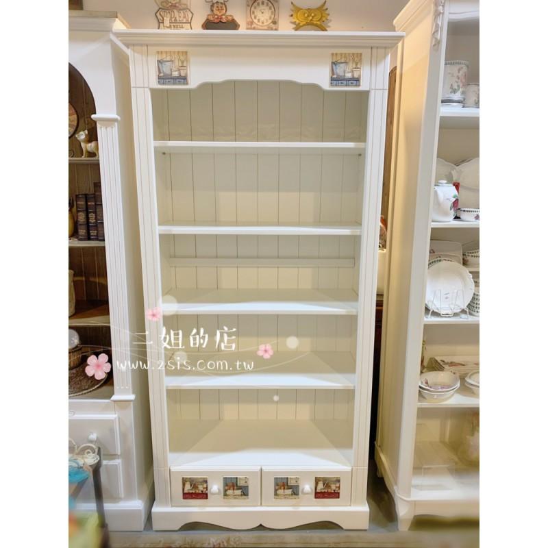磁磚兩抽開放式實木書櫃