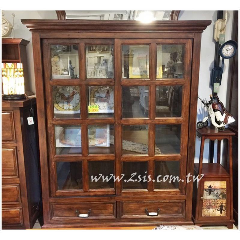 原木雙門玻璃書櫃-滑門