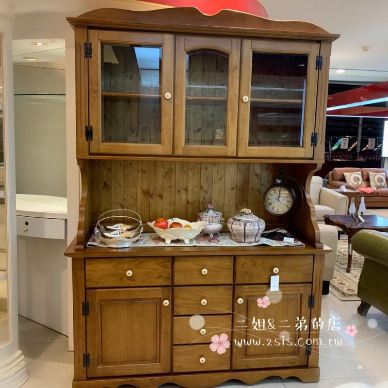 美式鄉村實木備餐櫃,碗盤櫃