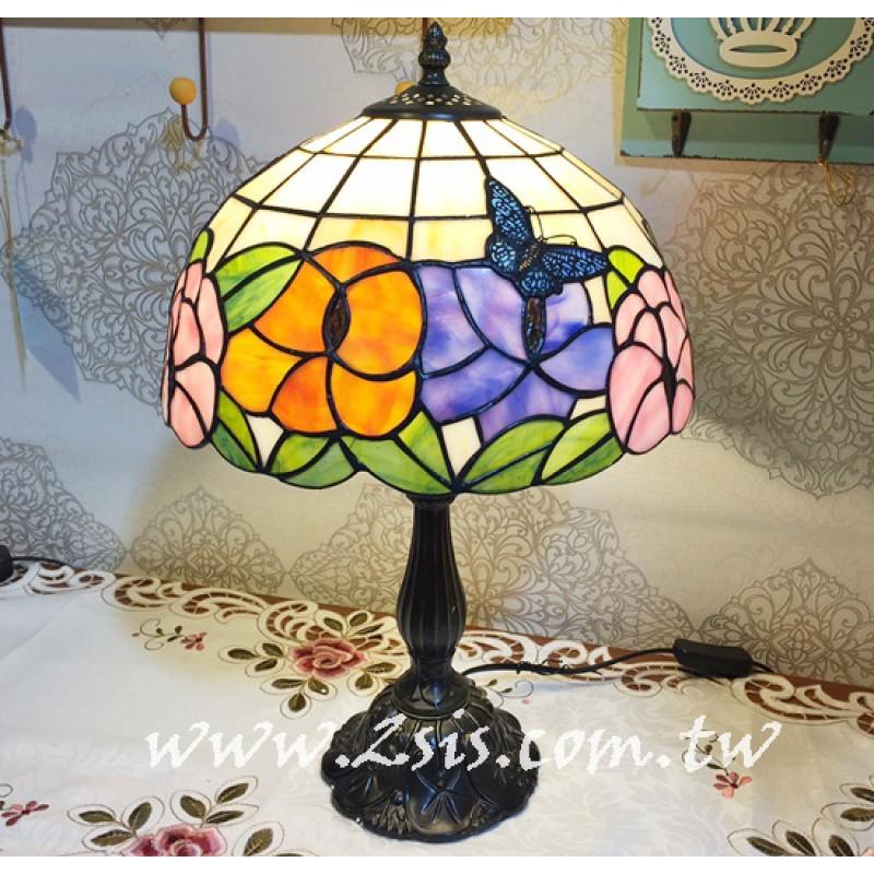 Tiffany桌燈-蝴蝶玫瑰