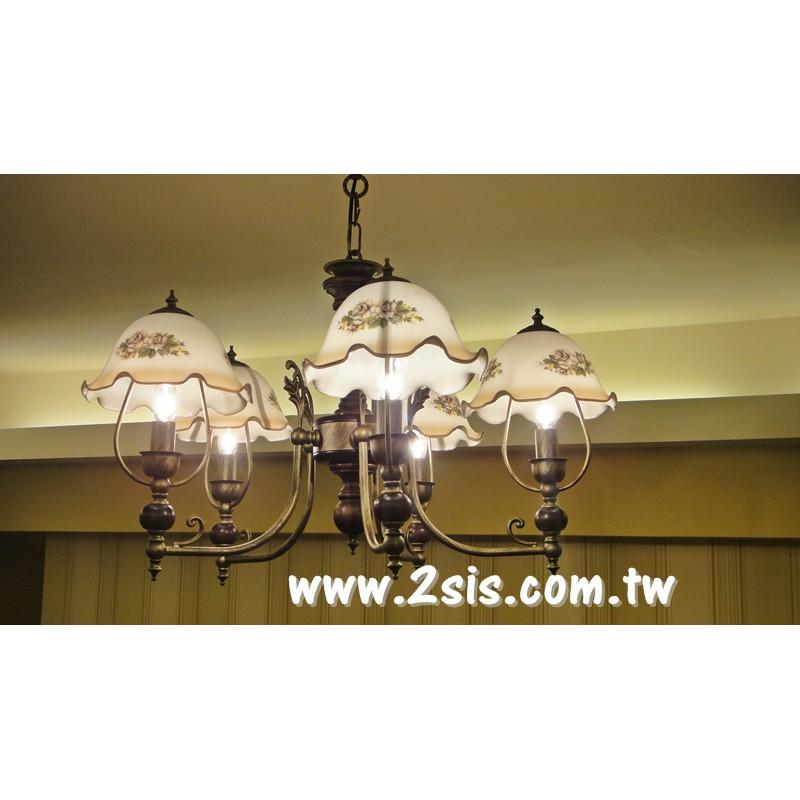 義式原木五燈吊燈