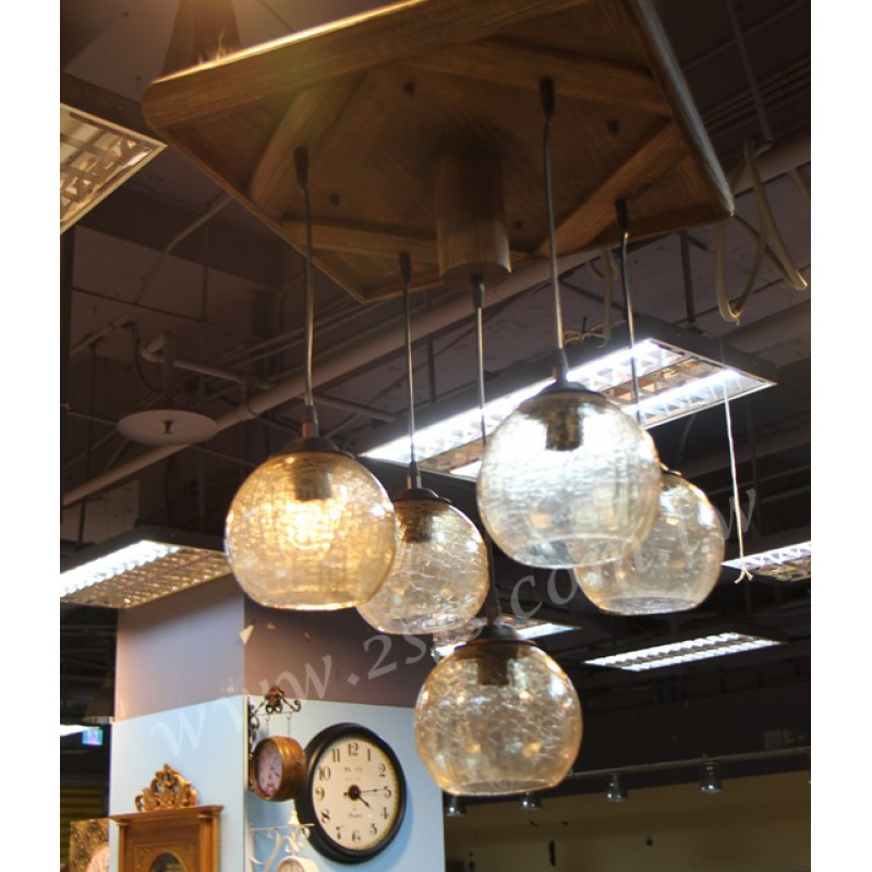 原木五燈吊燈