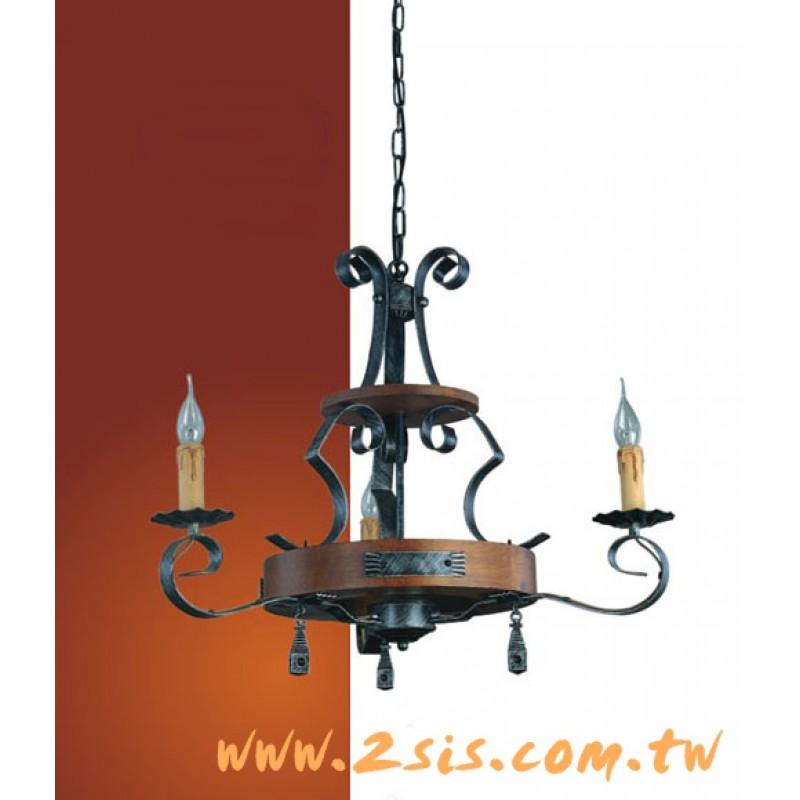 義大利原木蠟燭三燈吊燈
