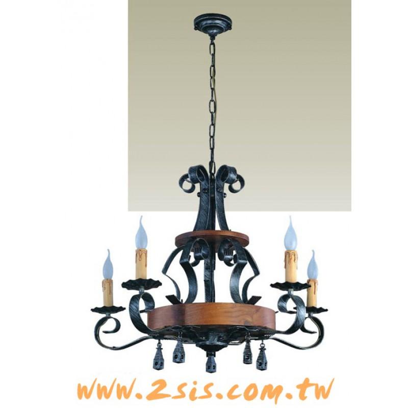 義大利原木蠟燭五燈吊燈