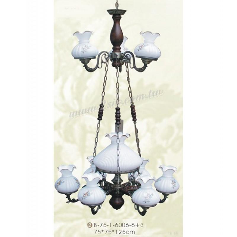 古典仿古雙層油吊燈-九吊燈