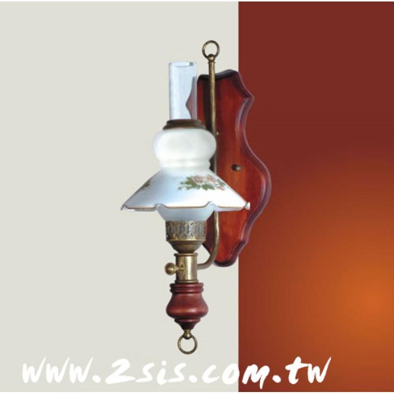 義式原木壁燈
