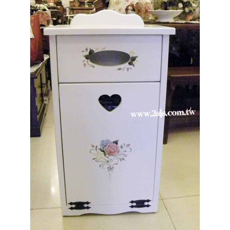 甜蜜約定手繪下拉式垃圾桶櫃(象牙白)