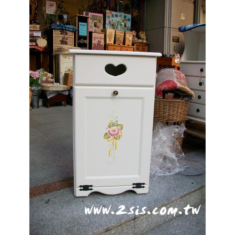 普羅旺斯洗白手繪垃圾桶櫃