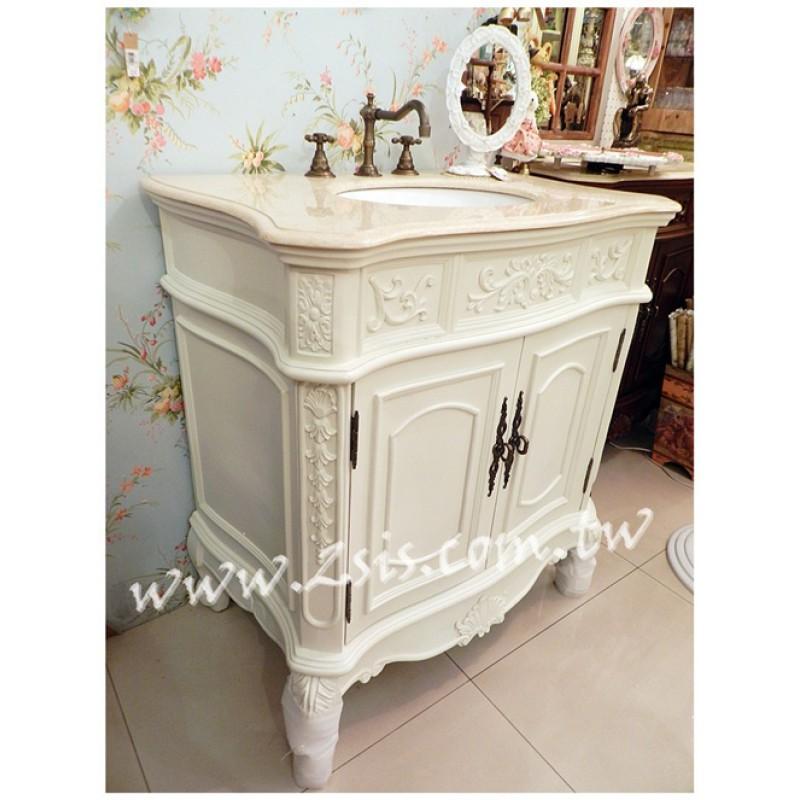 洗白歐式雕花雙門洗手台/洗手櫃/浴櫃
