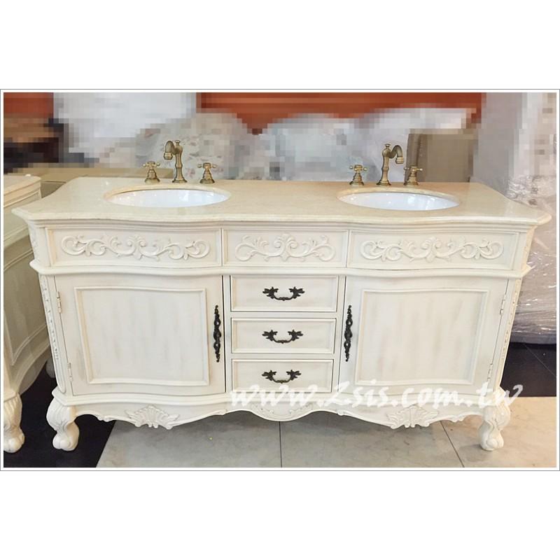 歐式維多利亞雕花雙臉盆 洗手台/洗手櫃/浴櫃(1米5)
