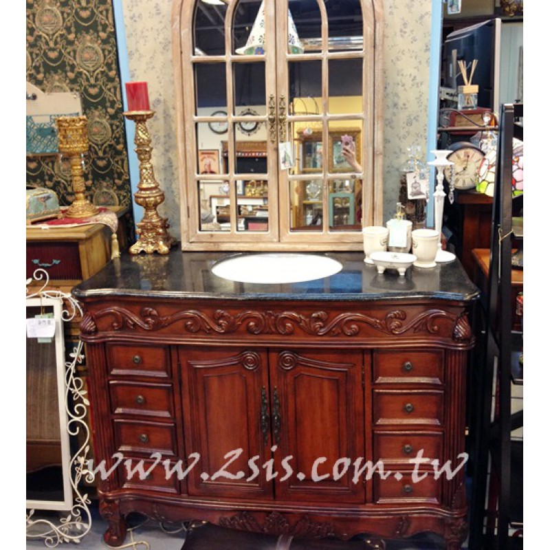 洗白歐式雕花八抽洗手台/浴櫃-120cm