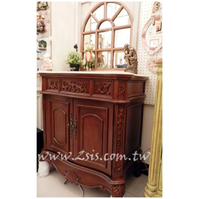 木色歐式雕花洗手台/洗手櫃/浴櫃