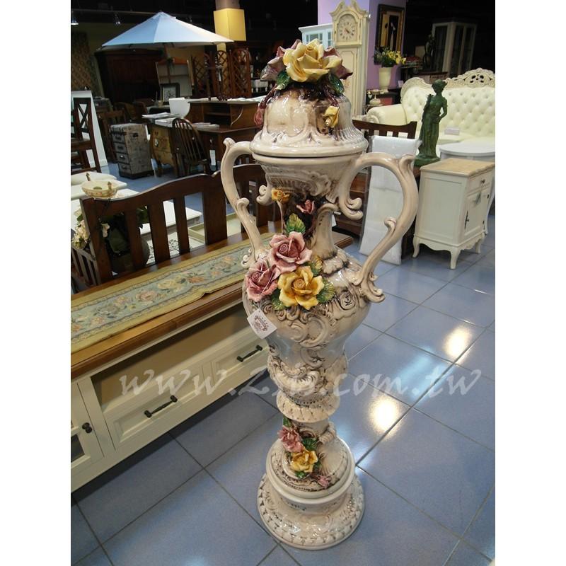義大利骨瓷玫瑰花瓶擺飾