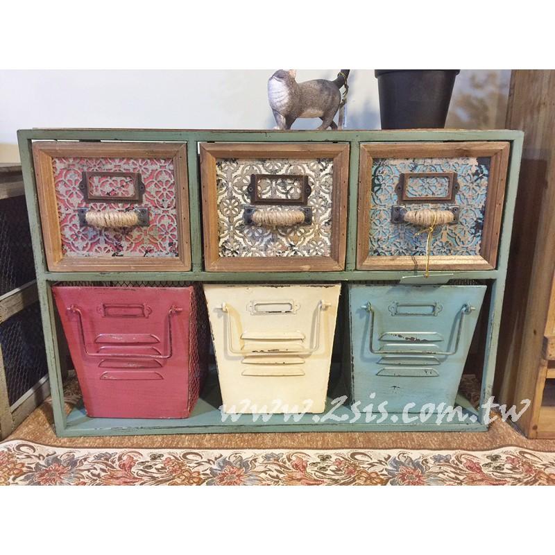 復古六抽桌上收納櫃/收納盒