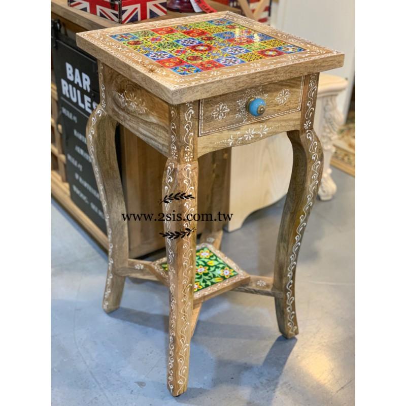 印度花磚彩繪電話窩桌/花台架