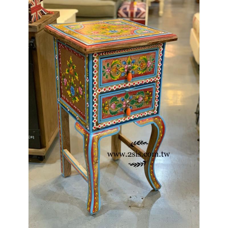 印度民彩繪兩抽電話桌/花台架