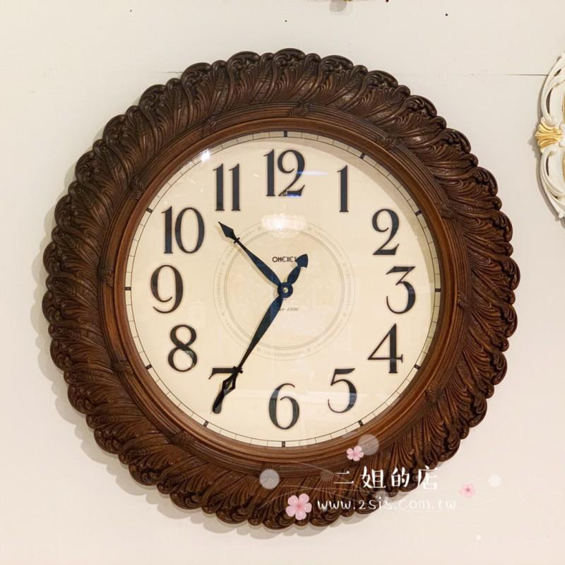 歐式復古圓靜音掛鐘