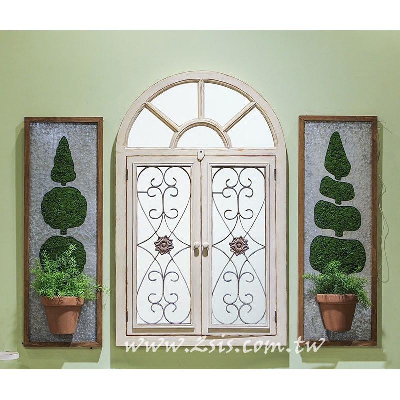 美式鄉村百葉窗木頭壁鏡/窗鏡