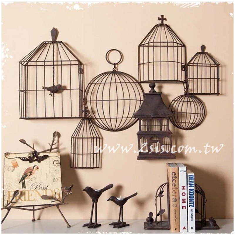 美式鄉村鳥籠組合裝飾壁飾